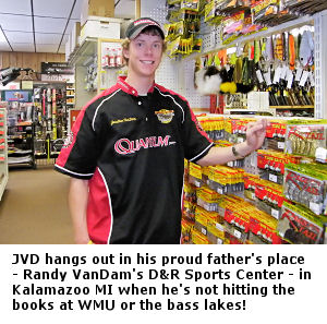 Jonathan VanDam JVD spends his spare time at his father - Randy Vandam's store - D & R Sports Center in Kalamazoo Michigan