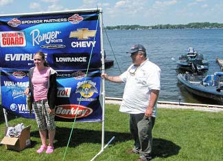 Jr competitor Kristen with a nice bass while proud pappa and TBF of MI board member Dave Reault looks on