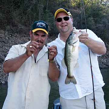 Lake Comedero bass fishing guide Jose with Jim Sprague of NBAA holding one of his many bass caught January 19, 2009