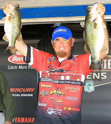 Lufkin Texas Pro bass angler Clark Reehm with two tournament largemouth bass