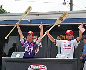 Andrew Upshaw and Ryan Watkins on stage after winning the 2011 College B.A.S.S. national championship before Andrew beat Ryan in the final fishoff for a Classic berth