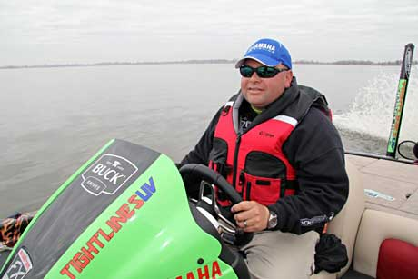 Brookville Indiana professional bass angler Bill Lowen driving his Skeeter Bass boat at the Louisiana Delta 2011 Bassmaster Classic