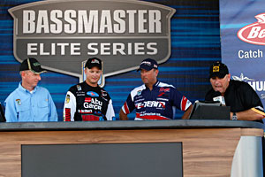Bradley Roy and David Walker share the Bassmaster Wheeler Lake stage with tournament director Trip Weldon and emcee Dave Mercer