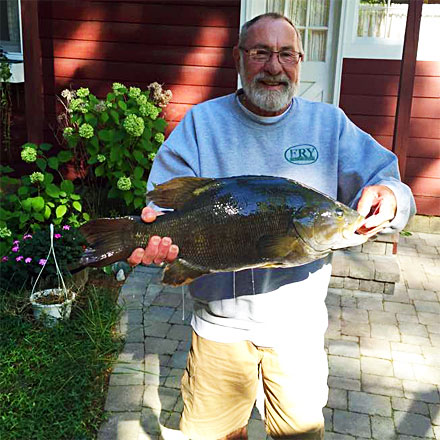 Bruce Kraemer landed a huge 9.98 pounds smallmouth bass from Michigan's Indian River on September 11, 2016.