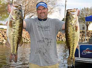 FLW Tour Lake Okeechobee Day-one leader Chad Prough holds up part of his 35-pound, 3-ounce stringer