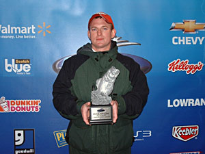 Co-angler Bradley Smith caught a five-bass limit weighing 16 pounds, 10 ounces March 5 to win $2,140