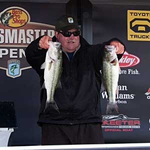 Co-angler Dan Jolly is tied for the lead day one at the B.A.S.S. Southern Open event on Lake Norman with 8 pounds, 9 ounces