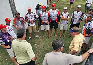 The top five College B.A.S.S. final teams from Virginia Tech, SFA, Georgia, Texas A&M and Auburn are briefed on the championship day at Beaver Fork Lake