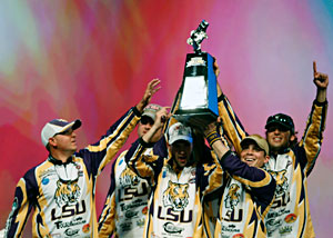 The LSU Fishing Tigers win the inaugural College Classic over Alabama at the 2011 Bassmaster Classic