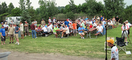 Spectators, anglers, city officials and media gather at Lake St. Clair to watch the June 22, 2013 Monster Quest VIII weigh in at the Nine Mile Road Boat Ramp in St. Clair Shores