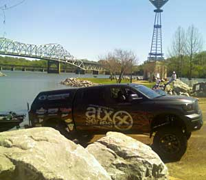 An Elite Series pro angler launches his boat into Pickwick Lake in preparation for the 2011 Alabama Charge