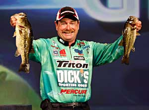 Elite series pro Shaw Grigsby shows a couple Louisiana Delta largemouth bass from the recent Bassmaster Classic
