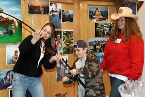 The fishing simulator allows visitors at the MUCC Outdoorama show in Novi to fight a large, virtual fish