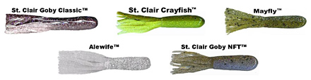 Xtreme Bass Tackle custom unique tube colors are based on over 15 years of research by Captain Wayne Carpenter. He designed the original St. Clair Goby Classic, St. Clair Crayfish, Mayfly, Alewife and St. Clair Goby NFT pictured here