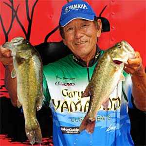 Gary Yamamoto of Texas weighed five bass totaling 15.73 pounds Thursday in the Bass Pro Shops PAA Tournament Series presented by Carrot Stix