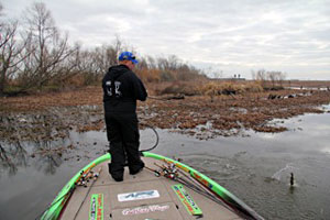 2011 Bassmaster Classic qualifier Bill Lowen fights a Louisiana Delta bass while looking for a winning spot