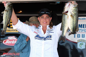Day 1 leader Janet Parker of Little Elm, Texas, at the Academy Sports and Outdoors Women's Bassmaster Tour tournament on the Ouachita River