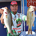 Diet Mountain Dew pro Jason Christie leads the FLW Tour Lake Hartwell event with quality fish like these two big largemouth bass