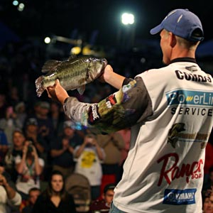 Keith Combs still leads by 4 pounds on Lake Conroe at the Toyota Texas Bass Classic after a day two limit weighing 27 pounds 4 ounces