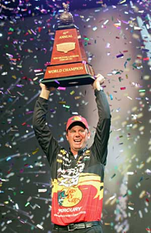 Fireworks, confetti and explosions greet 2011 Bassmaster Classic champion Kevin VanDam