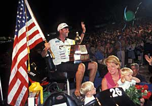 Michigan pro angler Kevin VanDam after his first Bassmaster Classic victory in 2001 at the Louisiana Delta