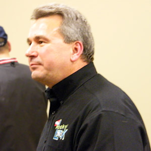 Hook n Look television host Kim Stricker retired from professional bass fishing after the 2009 season, here at his retirement celebration during the 2010 Ultimate Fishing Show Detroit