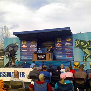 Michigan bass pro Kevin VanDam weighing in at the 2011 Alabama Charge Elite Series event on Pickwick Lake