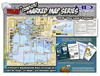 High Definition Color Lake St. Clair Marked Maps with GPS waypoints in a laminated bound chartbook