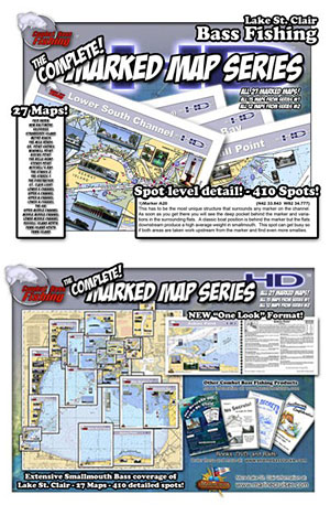 Xtreme Bass Tackle Marked Maps HD High definition color bass fishing maps of Lake St. Clair and the St. Clair River save you time and money with 410 fishing hot spots covered including many GPS waypoints