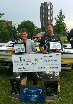 Champions Matt Belletini and Jeff Cox show off their trophies and big 10000 dollar check after 21 pounds 8 ounces of smallmouth bass win Monster Quest VIII on Lake St. Clair