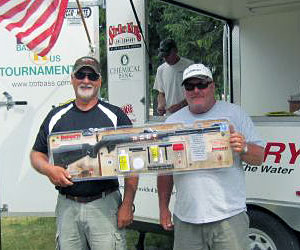 The winners of the Thompson Center Big Bass muzzleloader at Muskegon Lake was team #7, Gary Hinken & Brian Veen