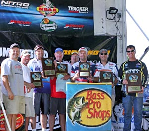 The top three teams at the June 18, 2011 NBAA Lake St Clair Super Bass Open from L NBAA national director Jack Horning, 3rd place Kyle Greene, 1st place Jeff Cox, 2nd place Chip Harrison, NBAA owner Jim Sprague, 3rd place Scott Dobson, 2nd place Bryan Plenzler, 1st place Skip Johnson