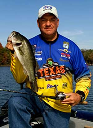 Roadhouse Tackle pro Mike DelVisco of South Carolina shows off a nice largemouth bass