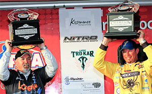 Gerald Brown and Bobby Lane keep the lead to win the inaugural PAA Tour Team Challenge on Lake Toho with 64.64 pounds of Florida bass