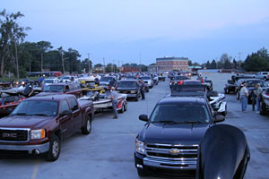 Some of the 90 bass fishing teams participating in the June 22, 2013 Monster Quest VIII on Lake St. Clair line up in the morning at the Nine Mile Road Boat Ramp in St. Clair Shores