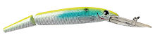 P-Line Predator Lures minnow bait 014 yellow blue pearl laser with VMC hooks and rattle chambers