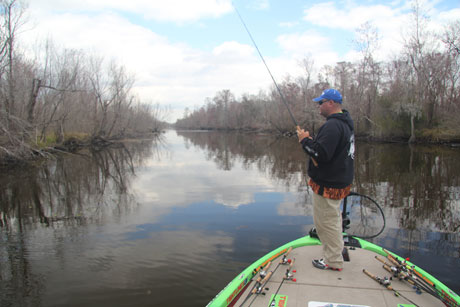 Indiana professional bass angler Bill Lowen fishes one of the many Louisiana Delta canals practicing for the 2011 Bassmaster Classic