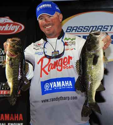 Gardendale Alabama Pro angler Randall Tharp shows off two nice largemouth bass