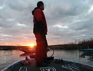 Michigan pro bass angler Ryan Said waits for the morning blast off of his final official practice day before the 2011 Bassmaster Classic