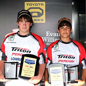 Henry Schomaker and Zach Horrocks of West Virginia won the Mid-Atlantic Junior Bassmaster Divisional titles on Sylvan Lake