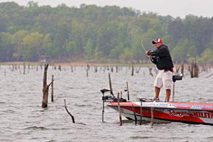 Little Rock Arkansas Elite angler Scott Rook fishes the wood on the Toledo Bend Reservoir