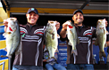 Tim Eaton (left) and Chris Risner of Michigan weighed 24 pounds, 13 ounces on Day 2 of the Toyota Bonus Bucks Bassmaster Team Championship on Lake Guntersville to claim the victory with a two-day total of 48 pounds, 7 ounces.   Photo Credit: Ronnie Moore/B.A.S.S.