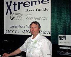 Wayne Carpenter of Xtreme Bass Tackle and Combat Fishing works his Showspan show booth
