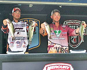 Virginia Tech's Carson Rejzer and Wyatt Blevins maintain the lead after day two of the 2011 Mercury College B.A.S.S National Championship