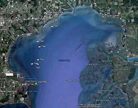 2012 MDNR Anchor Bay Lake St Clair trapnet locations map